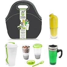 Brunch2Go - Fiambrera de 5 piezas para trabajar y viajar con contenedor para ensalada/comida, cereales/muesli con paquete refrigerante, botella de agua, taza para bebidas calientes y bolsa aislante - para comida, desayuno y merienda
