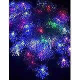 Dngy*20-LED 4M Enchufe UE impermeable al aire libre Decoración Navideña flor de luz RGB LED Luz de cadena (220V).