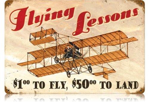 Flying Lessons Aviation Vintage Metal Sign - Victory Vintage Signs by Past Time (Flying Metal Sign)