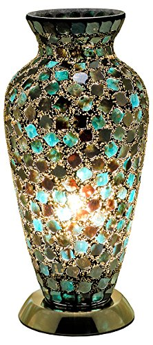 Febland Peacock Tile Mosaic Vase Lamp, Glass, Black