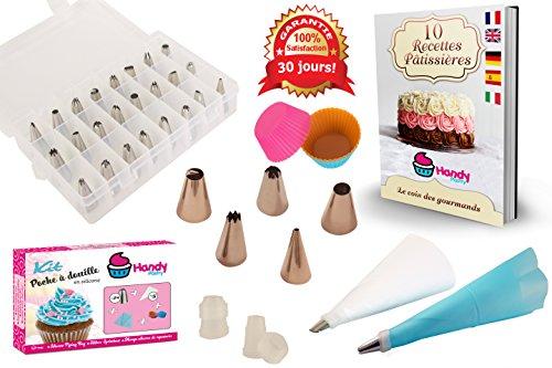 Kit bolsillo a vaso en silicona Handy Pastry-24con puntas-Calidad profesional-fácil de limpiar-incluye: electrónico de 10Recetas tarta-Conjunto de decoración para decorar vos repostería