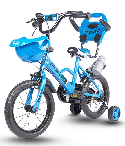 Baybee Thunder Freestyle Kids Bike | Boys Bikes and Girls Bikes with Training Wheels and Basket | 16 inch Gifts for Children (Blue)