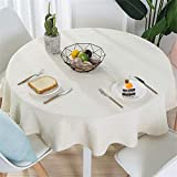 FuJia Manteles Moderno Mantel de Lino de algodón para el hogar con Mantel Redondo de Color sólido, 100 cm