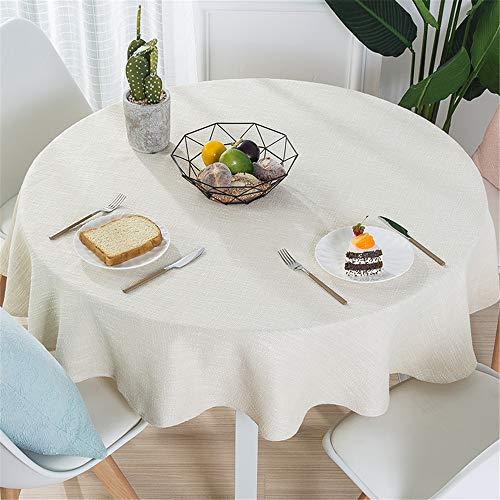 FuJia Tischdecken Moderne einfache Baumwolle leinen tischdecke Haushalt einfarbig runde tischdecke Stoff, 200 cm -