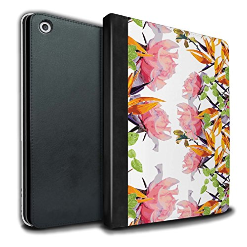 STUFF4 PU-Leder Hülle/Case/Brieftasche für Apple iPad 9.7 (2017) tablet / Üppiges Aquarell Muster / Klassisches Rosa Blumen Kollektion