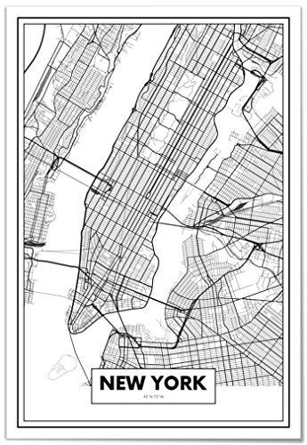 Panorama® Lienzo Mapa Nueva York 50 x 70 cm | Impreso