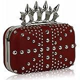 The FabLook Acc Preciosa bolsa de noche de lujo para mujer, color rojo, con tachuelas