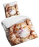 Aminata Kids - Kinder-Bettwäsche-Set 135-x-200 cm Katze-n-Motiv Haus-Tier Kätzchen 100-% Baumwolle Renforce Weiss-e beige