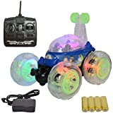 MousePotato 360 Degrees Front Axle Spinning Big Wheels Stunt Car With Lights And Music (BLUE)
