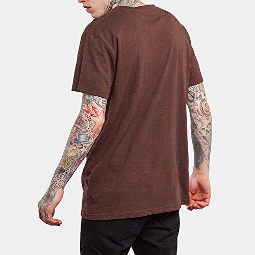 Miagolio Uomo Ragazzo Maglietta Maglia Di Colore Solido T-shirt Sportivo Da Moda Marrone