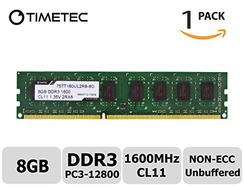 Timetec Hynix Grade A IC 8GB DDR3 1600MHz (PC3 - 12800) Non-ECC Unbuffered CL11 1.35/1.5V 240 Pins UDIMM Desktop Memory Modules Upgrade - Lifetime Warranty for Acer, ASUS/ASmobile, Biostar, Dell, Fuj