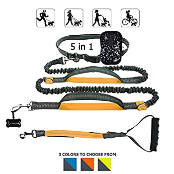 Hände Frei Hundeleine, Gearlifee Einziehbar Reflektierende Nähte Dual Bungees Diy Hundeleinen Mit Gürteltasche, Triangle Traction Belt, Hundefutter Dispenser Für Den Lauf Walking Wandern Training (Orange) 0