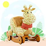 labebe ☛ 7 Days Only ☚ Baby Rocking Horse Wooden, 2 In 1 Plush Rocking Horse with Wheels, Yellow Giraffe Rocker for Baby 1-3 Years, Giraffe Baby Rocker/Animal Rocker Toy