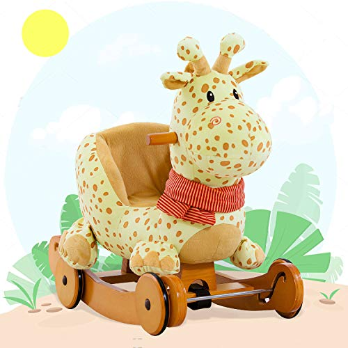 labebe ? 7 Days Only ? Baby Rocking Horse Wooden, 2 In 1 Plush Rocking Horse with Wheels, Yellow Giraffe Rocker for Baby 1-3 Years, Giraffe Baby Rocker/Animal Rocker Toy