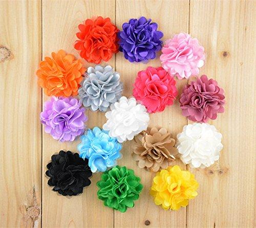 3x Farbige Chiffon Satin Ruffle, Ribbon Flowers hochzeitspapier Scrapbook Nähen auf Radzierblenden Craft Haar Bögen (lila), Textil, multi, Bright Pink (Kostüm Lila Pimp)