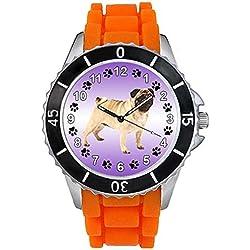 Pug Unisex Reloj para hombre y mujer con correa de silicona naranja