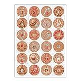24 gezeichnete Advents Aufkleber mit den Zahlen 1 - 24 auf Weihnachts Symbolen, braun beige, MATTE universal Papieraufkleber für Adventskalender, Weihnachts Geschenke, Etiketten für Tischdeko, Pakete, Briefe und mehr (ø 45mm