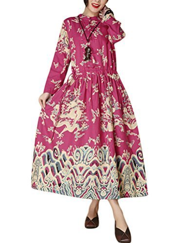 MatchLife Femme Printed Dragon Robe Style4-Rose