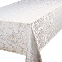 Premier Signature Collection Cadiz Damask Effect Glacier (Off-White) 52in x 90in (132cm x 228cm) Oblong (Rectanglular) Tablecloth. Ideal For 4-6 Place Settings Approximate