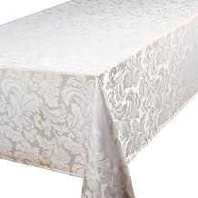 Home Creations Premier Cadiz - Mantel rectangular (132 x 177,8 cm), color blanco