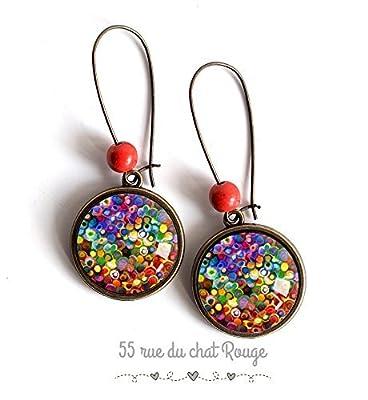 Boucles d'oreilles Cabochon multicouleur, feu d'artifice coloré, couleur d'été