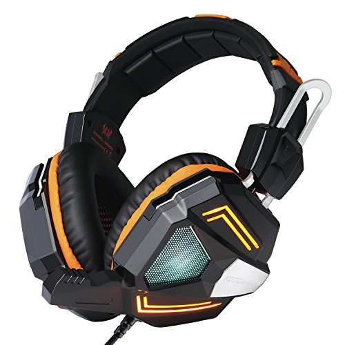 Gaming Headset, YIPIN G5000 Stereo Gaming Headset PC Gamer Headset Kopfhörer Laptop mit 7.1 Surround Sound, LED Licht Mikrofon In-line Lautstärkeregler für PS4/Xbox One/PC Orange -