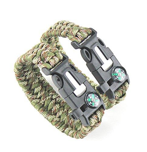 Imagen de 2pcs pack detuck® kit de pulsera paracord pulsera de supervivencia pulsera herramienta kits de supervivencia con brújula arrancador de fuego de pedernal silbato raspador ejército verde + camuflaje  alternativa