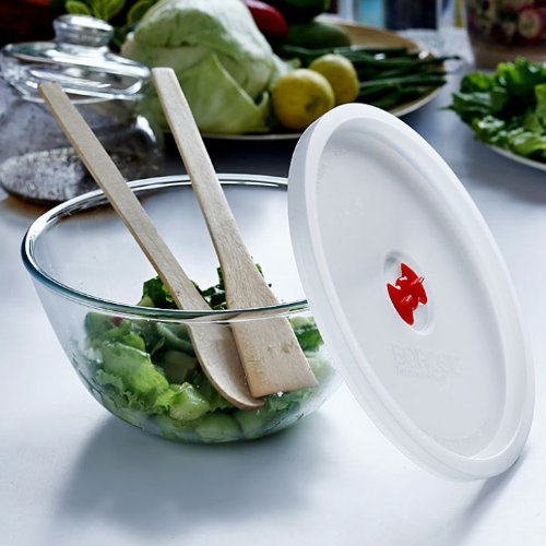 Borosil Glass Mixing Bowl with Plastic Lid, 1.3 Litres, Transparent  available at amazon for Rs.440
