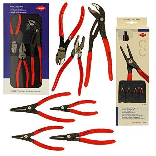 """Preisvergleich Produktbild KNIPEX Sicherungsringzangen-Set 4 tlg + Zangen-Set """"Kraft-Paket"""" 3 tlg. Sicherungsringzangen Set Zangen 00 20 10 Kombipack Sicherungs Ring 00 19 57"""