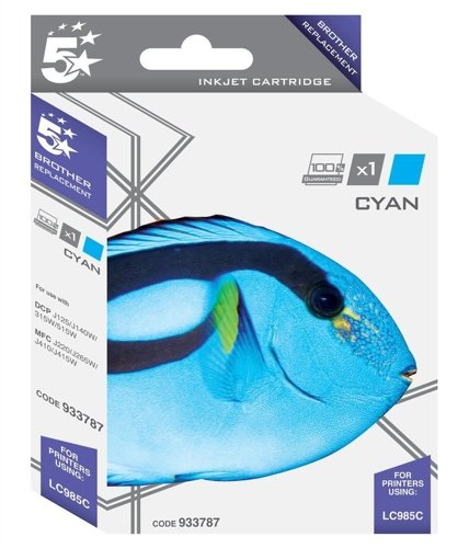 5 Star Compatible Inkjet Cartridge Page Life 260pp Cyan [Brother LC985C Alternative]