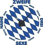 GRAZDesign 800356_BK_052 Wandtattoo Uhr mit Uhrwerk Wanduhr Bayern München Zahlen Flagge (60x57cm // 052 azurblau // Uhrwerk schwarz)