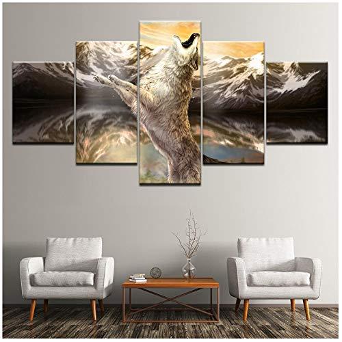 YYZCM 5 lienzos Pintura en lienzo running White wolf 5 piezas Wall Art Painting Modular Wallpapers Poster...