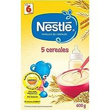 NESTLÉ Papilla 5 cereales - Alimento para Bebés - Paquete de 6 x 600 g