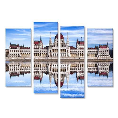 islandburner Cuadro Cuadros Famoso Parlamento con Río en Budapest, Hungría Sobre Lienzo Formato Grande Listo para Colgar estupendo