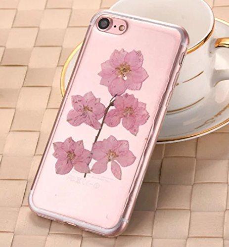 iPhone 7 Klar Handycover, Aeeque iPhone 7 Handgefertigt Echt Blume Schutzhülle, 3D Handmade Elegant Mädchen Blumen-Serie Design Klar Durchsichtig Flexibel Silikon Zurück Bumper Case Cover für iPhone 7 Blumen #3