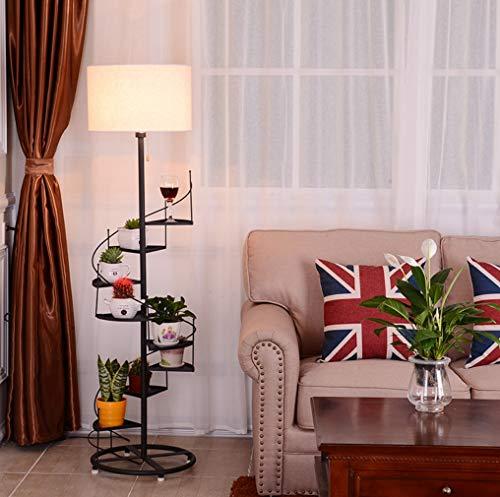 ZHLIANG Lampadaire Nordique lampadaire avec étagères/Noir métal & Blanc Tissu lampadaire avec construit en étagères unités Chambre à Coucher Vertical Fleur Stand lampadaire,Blacklinen