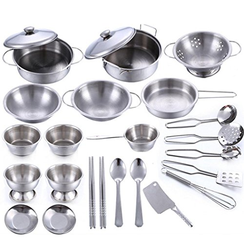 Pretend Play Toys , MML 25 Pcs Set Kids Play House Kitchen Toys Cookware Cooking Utensils Pots Pans Gift (Silver)