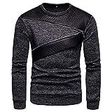 Xmiral Pullover Herren Langarm O Neck Bluse Patchwork Reißverschluss Design Shirt Top (L,Schwarz)