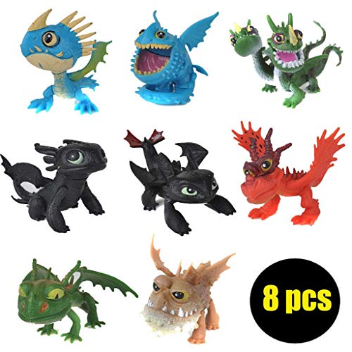 SONGDP Anime Toys 8 pcs Anime Character Model How to Train Dragon Master Q Version Wrist Doll No Teeth Nightingale Adult Kids Toy Ornaments Cartoon Characters