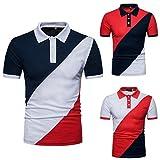Longra Camiseta Hombre, Hombres de la Personalidad de Moda de Manga Larga Remiendo Delgado Camiseta de Manga Corta Blusa (XL, Negro)