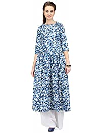 Pret A Porter Blue White Printed Long Box Pleated Tunic With Plazzo