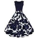 iShine elegant Rockabilly Kleid Damen Knielang V-Ausschnitt 50s Retro Vintage Faltenrock Ärmellos Partykleid Cocktailkleid Festliches Kleid mit Blumen Spleiß (4XL, Dunkelblau)