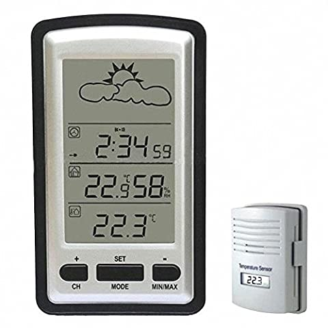 HopCentury Wireless Weather Station Indoor Temperature Humidity Clock Storm Warning and Outdoor Temperature