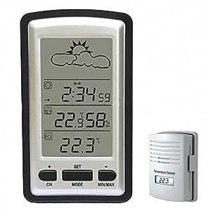 HopCentury stazione Meteo Wireless con sensore esterno RF digitale LCD termometro interno ed esterno giardino
