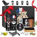Kit de Soins de Barbe, Kit Soin Barbe 9 pièces Cadeau Idéal pour homme par BEAU-PRO, Huile à...