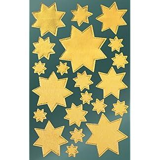 Avery 52807 pegatinas de Navidad, estrellas, papel satinado, 2 hojas, 42 pegatinas, oro