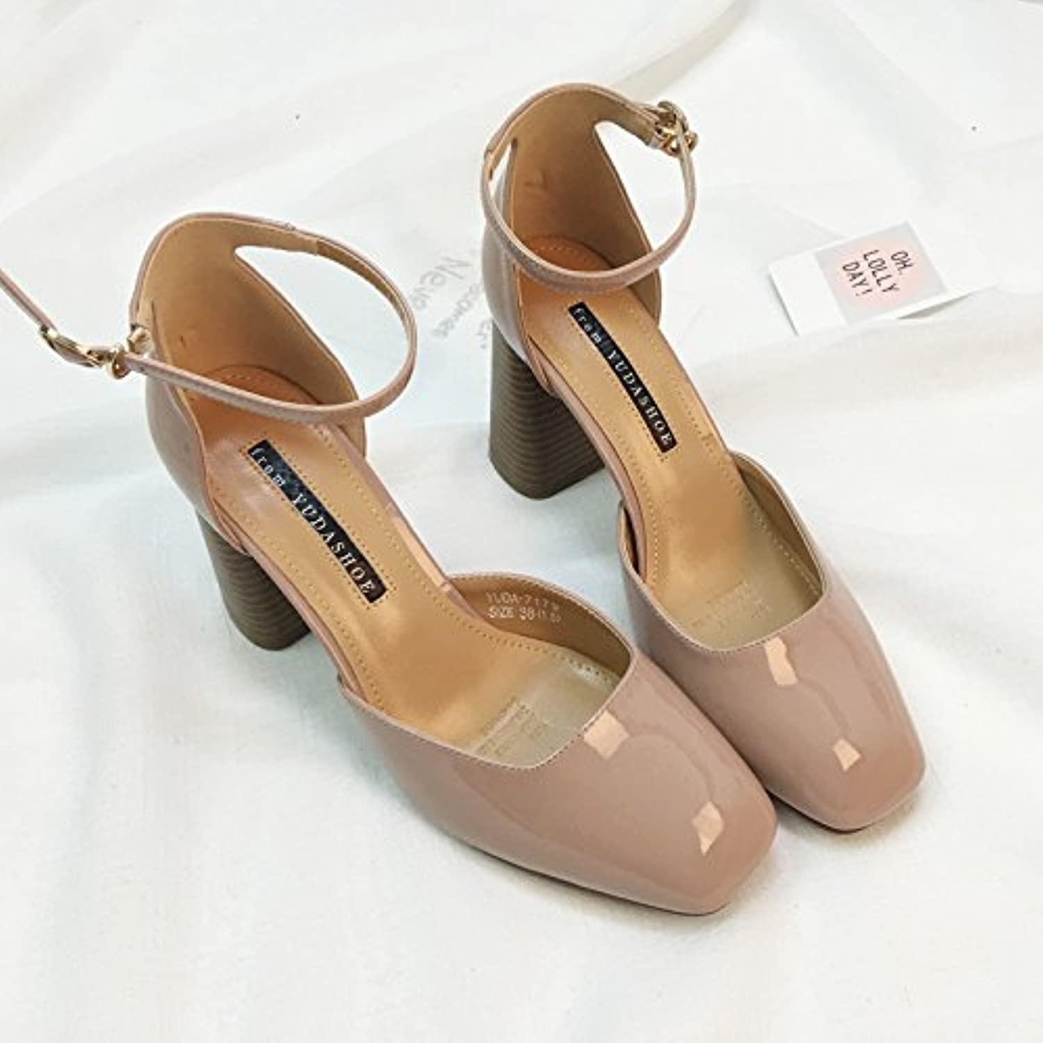 SHOESHAOGE One Word Buckle Heel Heels Spring Female Shallow Mouth Patent Bare Powder Square Head Shoes Femaleö