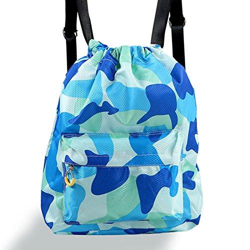 OME&QIUMEI Trocken Nass Schwimmen Schwimmen Tasche Badeanzug Badeanzug Strand Wasserdichte Tasche Männlich Weiblich Und Body Building Doppel Schulter Rucksack Camouflage Blau