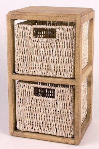 Holzregal mit 2 Körben aus Maisgeflecht