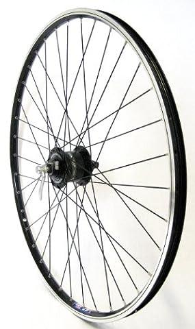 28 Zoll Fahrrad Laufrad Vorderrad Hohlkammerfelge Shimano Nabendynamo DHC30003 mit Schnellspanner schwarz für V-Brakes / Felgenbremse